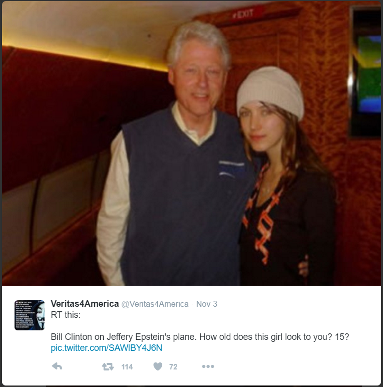 pic of bill clinton allegedly on jeffrey epstein u0026 39 s plane with a girl who looks rather young